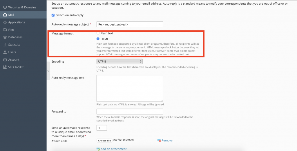 How to create a Mail Account and configure auto-reply, spam control